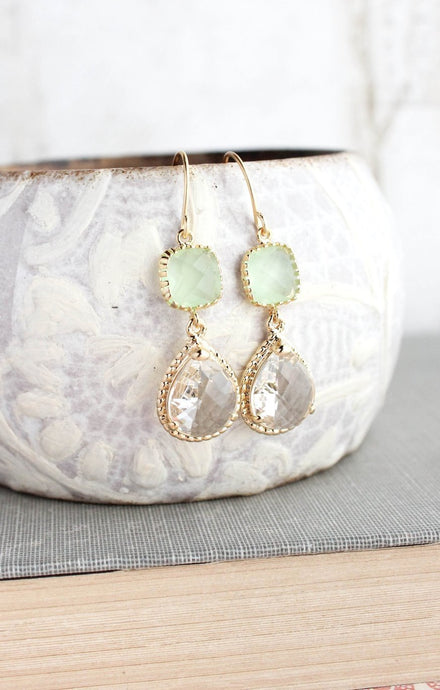 Sparkle Drop Earrings Gold | Mint | Clear