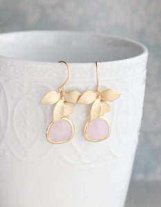 Gold Orchid Earrings - Light Pink