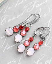 Load image into Gallery viewer, Three Jewel Earrings - Pink Opal