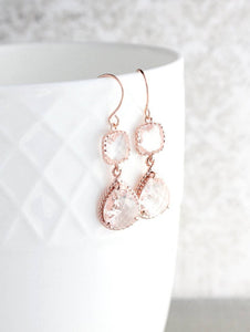 Sparkle Drop Earrings Rose Gold | Clear