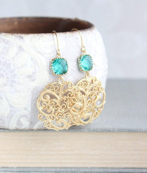 Teal and Gold Filigree Earrings