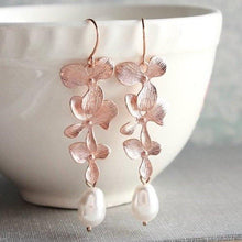 Load image into Gallery viewer, Cascading Orchid Earrings - Rose Gold