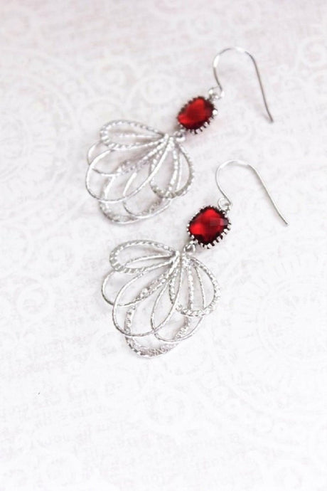 Silver Loop Earrings - Red