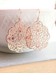 Lacy Filigree Earrings - Rose Gold