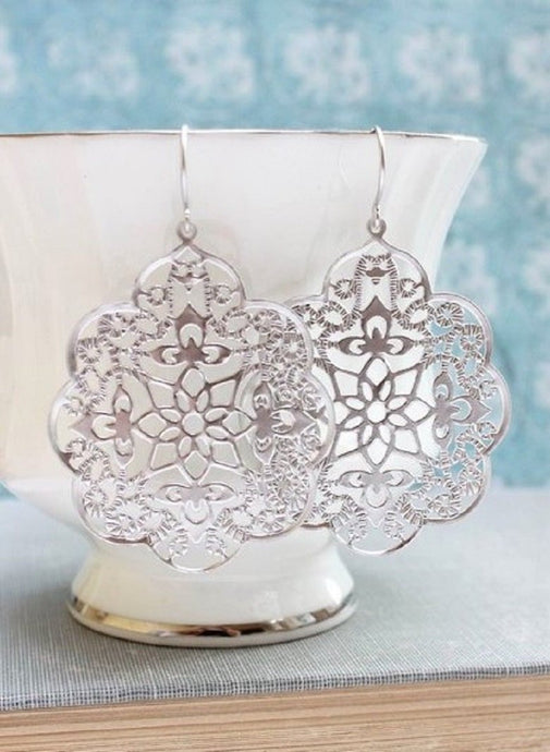 Lacy Filigree Earrings - Silver