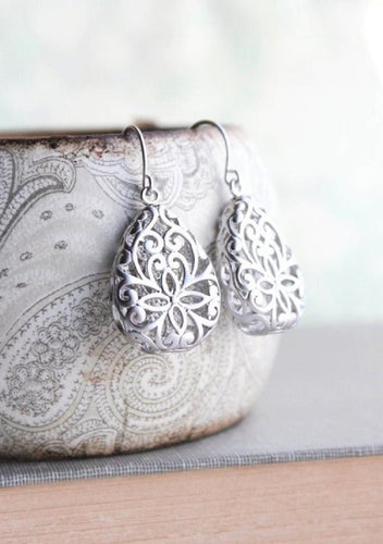 Silver Teardrop Filigree Earrings
