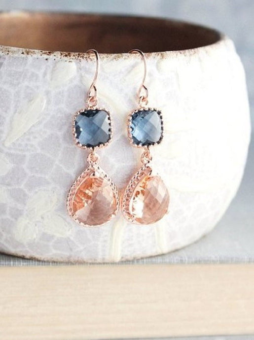 Sparkle Drop Earrings Rose | Blue | Peach