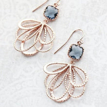 Load image into Gallery viewer, Rose Gold Loop Earrings - Montana Blue