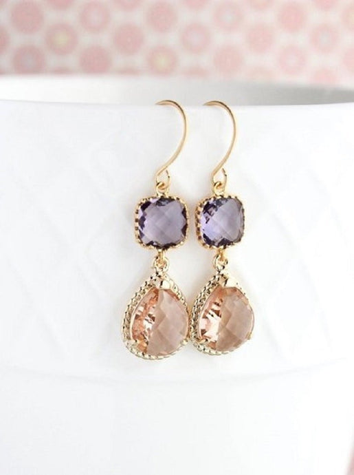 Sparkle Drop Earrings Rose | Purple | Peach