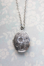Load image into Gallery viewer, Oval Locket Necklace - Antiqued Silver