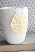 Load image into Gallery viewer, Big Leaf Earrings - matte gold