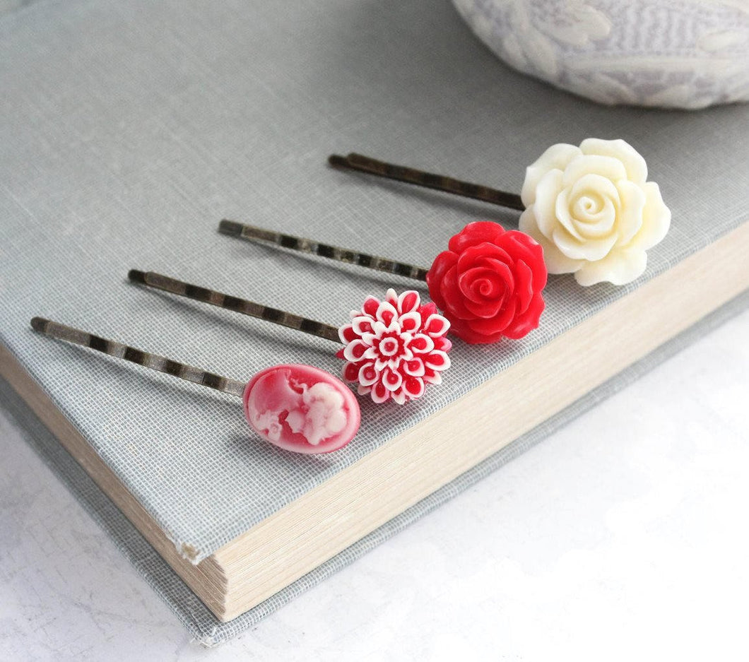 Bright Red Bobby Pins - BP1012