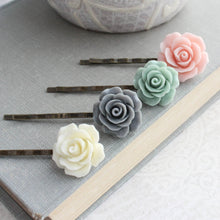 Load image into Gallery viewer, Pink Rose Bobby Pins - BP1214