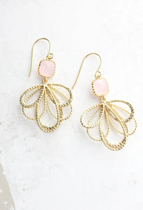 Gold Loop Earrings - Light Pink
