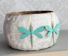 Load image into Gallery viewer, Dragonfly Earrings - Verdigris