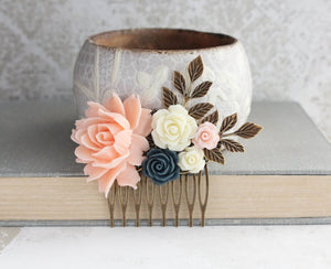 Blush Peach Floral Comb - C1009