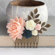 Load image into Gallery viewer, Blush Peach Floral Comb - C1009