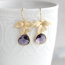 Load image into Gallery viewer, Silver Orchid Earrings - Purple