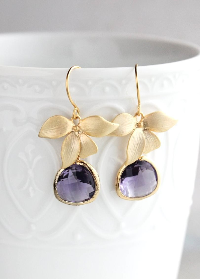 Gold Orchid Earrings - Purple