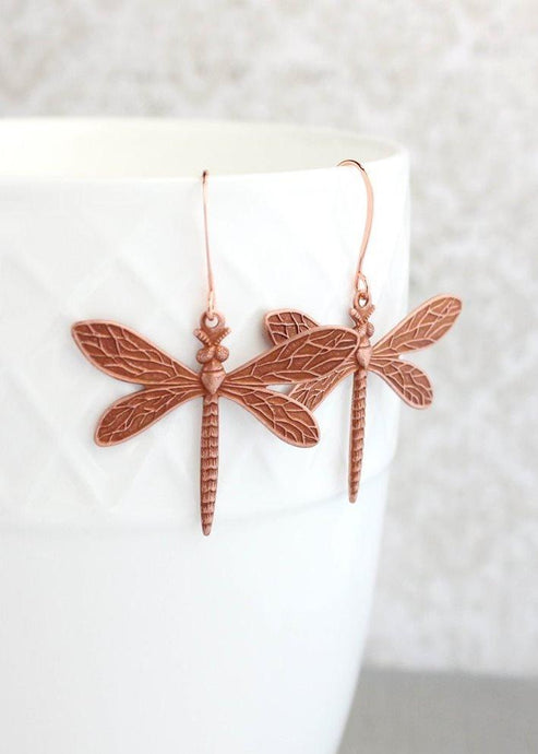 Dragonfly Earrings - Copper