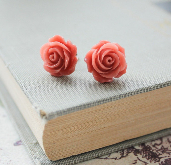 Coral Rose Stud Earrings