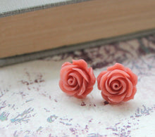 Load image into Gallery viewer, Coral Rose Stud Earrings