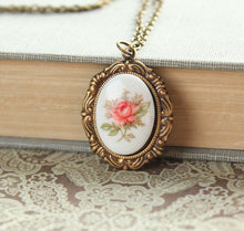 Load image into Gallery viewer, Pink Tea Rose Necklace