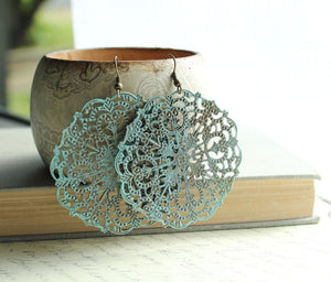 Big Lacy Filigree Earrings - Denim