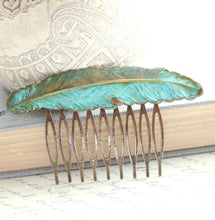 Load image into Gallery viewer, Feather Comb - Verdigris Patina