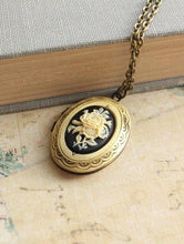 Load image into Gallery viewer, Black Floral Cameo Locket
