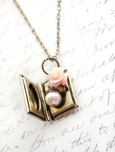 Book Locket - Blush Rose