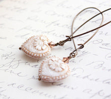 Load image into Gallery viewer, Long Earrings - Antique White Heart