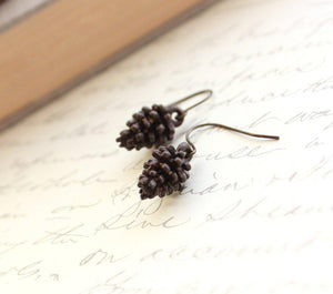 Pinecone Earrings - Dark Patina