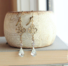 Load image into Gallery viewer, Long Filigree Earrings - Crystal Glass