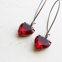 Load image into Gallery viewer, Red Glass Heart Earrings
