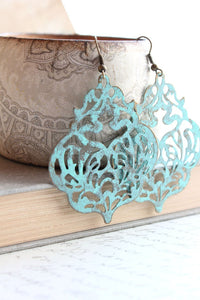 Damask Filigree Earrings - Aqua