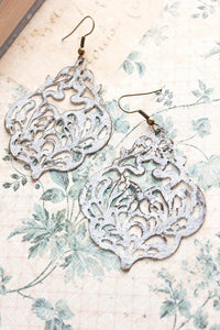 Damask Filigree Earrings - White