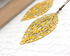 Yellow Filigree Earrings