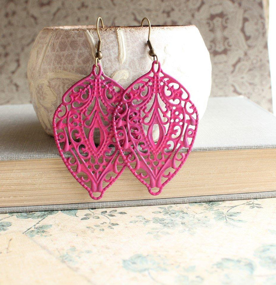 Big Filigree Earrings - Hot Pink