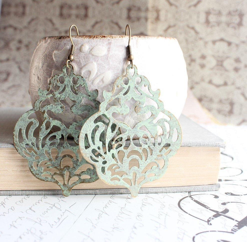 Damask Filigree Earrings - Sage