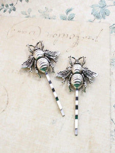 Bee Bobby Pins - Antiqued Silver (set of 2 pins)