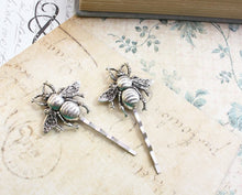 Load image into Gallery viewer, Bee Bobby Pins - Antiqued Silver (set of 2 pins)