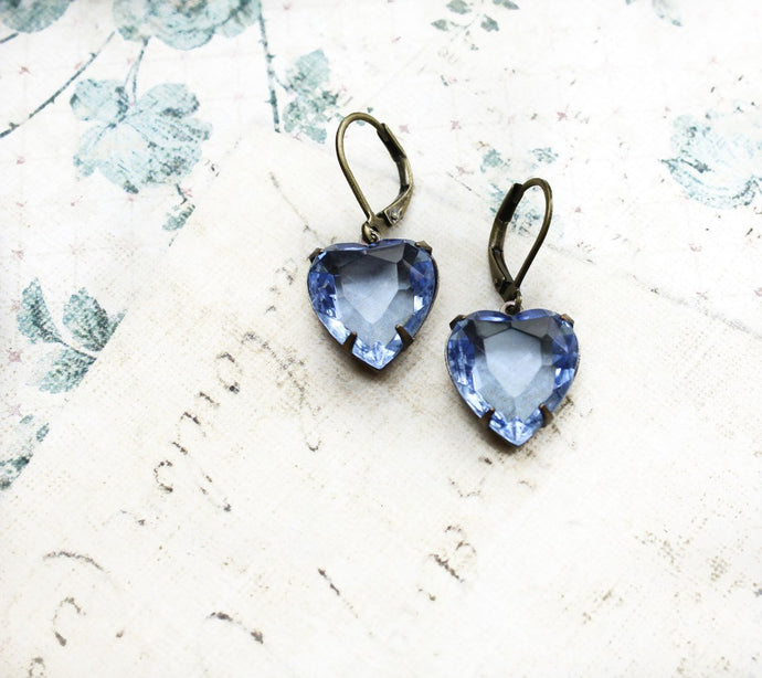 Blue Glass Hear Earrings