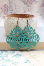 Load image into Gallery viewer, Damask Filigree Earrings - Deep Teal