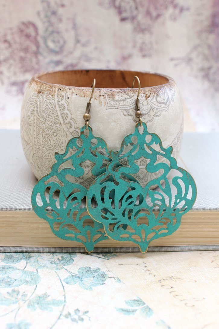 Damask Filigree Earrings - Deep Teal