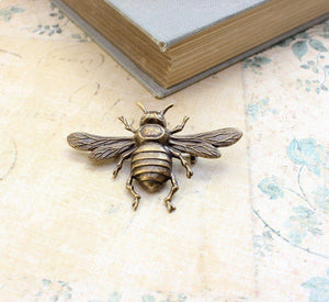 Bee Brooch - Antique Brass