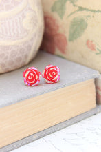 Load image into Gallery viewer, Shimmer Rose Studs - Red