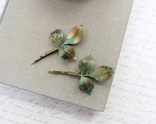 Load image into Gallery viewer, Leaf Bobby Pins - Verdigris