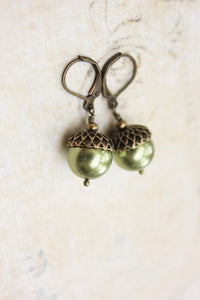 Pearl Acorn Earrings -Light Green