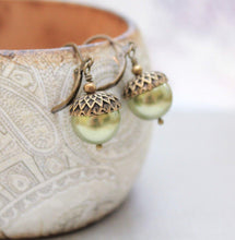 Load image into Gallery viewer, Pearl Acorn Earrings -Light Green